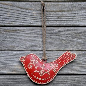 Rustic Large Red Bird Decoration