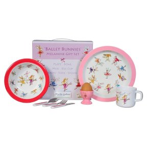 Ballet Bunnies Children's 7 Piece Melamine Gift Set