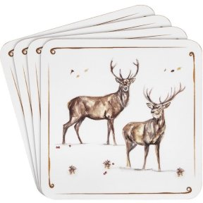 Winter Stag Coasters Set of 4