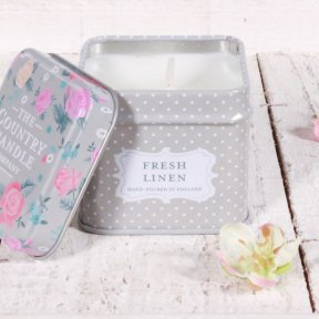Fresh Linen Floral Candle in Keepsake Tin