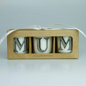 MUM Alphabet Gift Set in Votive Glass Gift Set