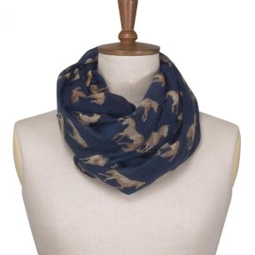 Toggi Fredica Scarf Midnight Blue - Horse Design