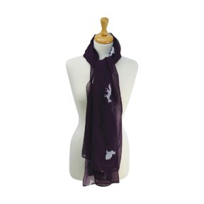 Hyfashion Fox and Rabbit Print Scarf - Purple/Gardenia White