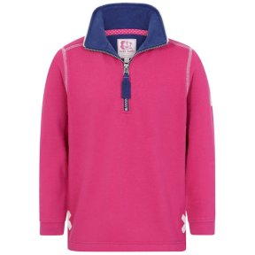 Lazy Jacks Childrens Supersoft 1/4 Zip Sweatshirt - Bright Rose