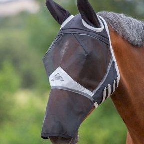 Fine Mesh Fly Mask with Ears & Nose - Black