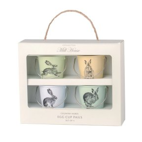 Country Hares Egg Cup Pails - Set of 4