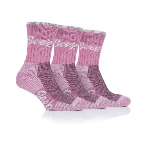 Ladies Jeep Luxury Cushion Boot Socks - Rose/Cream