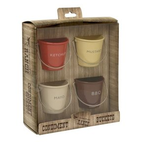 Set of 4 Condiment Buckets - Ketchup, BBQ, Mayo and Mustard