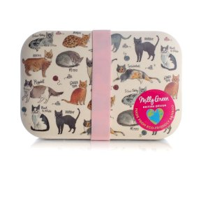 Milly Green Curious Cats Eco Bamboo Lunch Box