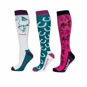 pack of 3 themed riding socks Various designs Toggi Ladies Socks