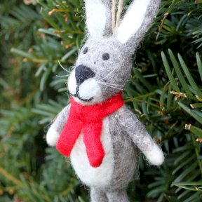 Harry The Hare Christmas Decoration - Grey
