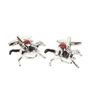 At Home in the Country Cufflinks - Horse & Jockey