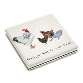 Square Compact Mirror - Hen - Girls Just Wanna Have Fun