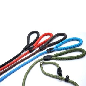 Rubber Handle Slip Lead with Figure 8 Training Lead - 10mm x 150mm & 13mm x 150mm - Black, Brown, Red, Blue, Olive Green