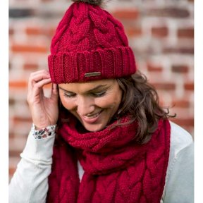 Baleno Louise Knitted Scarf with Faux Fur Pom Pom - Burgundy
