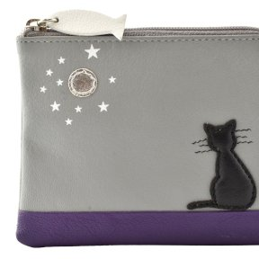 Mala Leather Midnight Cat Coin Purse