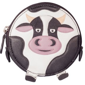 Mala Leather Pinky Cow Round Coin Purse