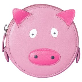 Mala Leather Pinky Pig Round Coin Purse