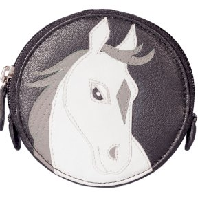 Mala Leather Pinky white Horse Round Coin Purse