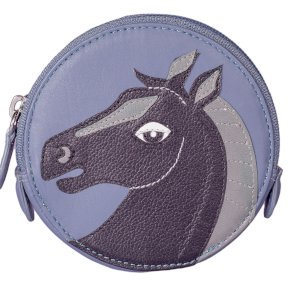 Mala Leather Pinky Black Horse Round Coin Purse