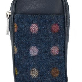 Mala Leather Abertweed Glasses Case - Navy Spot