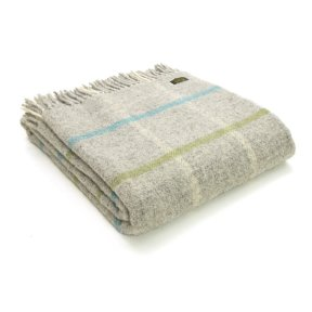 Tweedmill Windowpane Throw - Stone