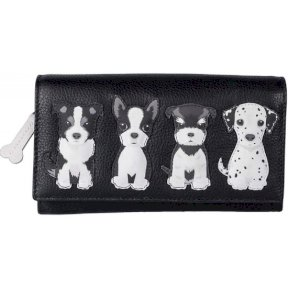 Mala Leather Best Friends Sitting Dogs Matinee Purse - Black