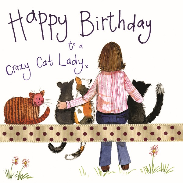 Vintage Crazy Cat Lady Birthday Card Amazon De Stationery Office Supplies